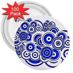 Trippy Blue Swirls 3  Button (100 Pack) by StuffOrSomething