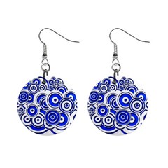 Trippy Blue Swirls Mini Button Earrings by StuffOrSomething