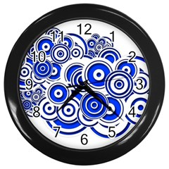 Trippy Blue Swirls Wall Clock (black) by StuffOrSomething