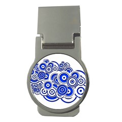 Trippy Blue Swirls Money Clip (round) by StuffOrSomething