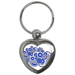Trippy Blue Swirls Key Chain (heart) by StuffOrSomething