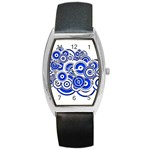 Trippy Blue Swirls Tonneau Leather Watch Front