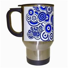 Trippy Blue Swirls Travel Mug (white) by StuffOrSomething