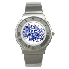 Trippy Blue Swirls Stainless Steel Watch (slim) by StuffOrSomething