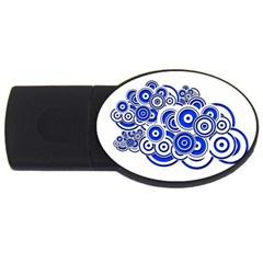 Trippy Blue Swirls 4gb Usb Flash Drive (oval) by StuffOrSomething