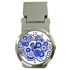 Trippy Blue Swirls Money Clip With Watch