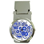 Trippy Blue Swirls Money Clip with Watch Front