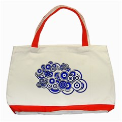 Trippy Blue Swirls Classic Tote Bag (red) by StuffOrSomething