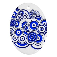 Trippy Blue Swirls Oval Ornament (two Sides) by StuffOrSomething