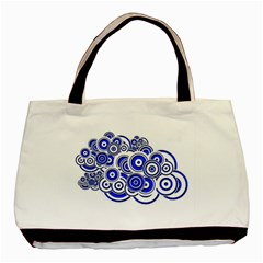Trippy Blue Swirls Twin Sided Black Tote Bag by StuffOrSomething