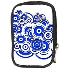 Trippy Blue Swirls Compact Camera Leather Case by StuffOrSomething
