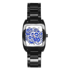 Trippy Blue Swirls Stainless Steel Barrel Watch by StuffOrSomething