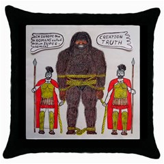 Big Foot & Romans Black Throw Pillow Case by creationtruth