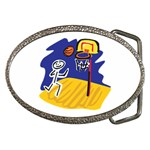 Stick Figure Basketball Player Belt Buckle