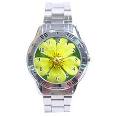 Yellowwildflowerdetail Stainless Steel Watch