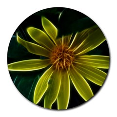 Yellow Wildflower Abstract 8  Mouse Pad (round) by bloomingvinedesign
