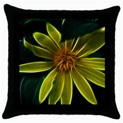 Yellow Wildflower Abstract Black Throw Pillow Case by bloomingvinedesign