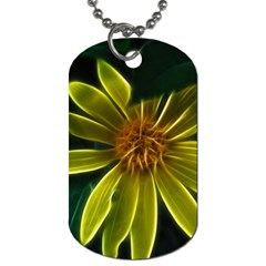 Yellow Wildflower Abstract Dog Tag (one Sided) by bloomingvinedesign