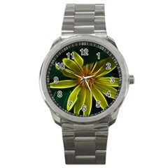 Yellow Wildflower Abstract Sport Metal Watch by bloomingvinedesign