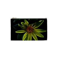 Yellow Wildflower Abstract Cosmetic Bag (small) by bloomingvinedesign