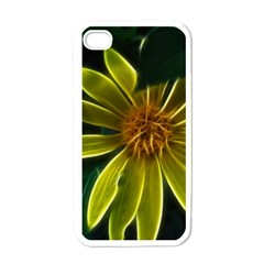 Yellow Wildflower Abstract Apple Iphone 4 Case (white) by bloomingvinedesign