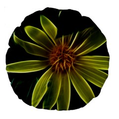 Yellow Wildflower Abstract 18  Premium Round Cushion