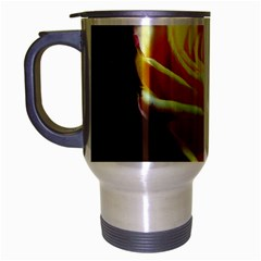 Yellow Rose Curling Travel Mug (Silver Gray) by bloomingvinedesign