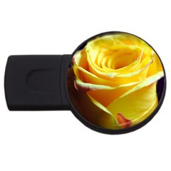 Yellow Rose Curling 4gb Usb Flash Drive (round) by bloomingvinedesign