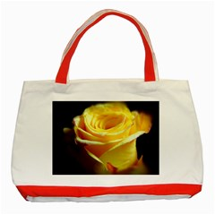 Yellow Rose Curling Classic Tote Bag (red) by bloomingvinedesign