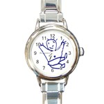 Cute Little Cartoon Boy Round Italian Charm Watch