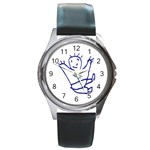 Cute Little Cartoon Boy Round Metal Watch