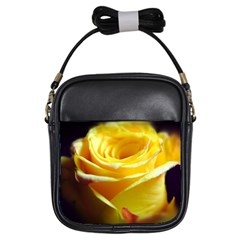 Yellow Rose Curling Girl s Sling Bag by bloomingvinedesign