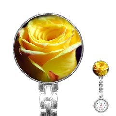 Yellow Rose Curling Stainless Steel Nurses Watch