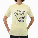 Cute Little Cartoon Boy Women s Yellow T-Shirt