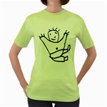 Cute Little Cartoon Boy Women s Green T-Shirt