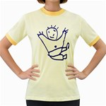 Cute Little Cartoon Boy Women s Fitted Ringer T-Shirt