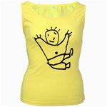 Cute Little Cartoon Boy Women s Yellow Tank Top