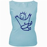 Cute Little Cartoon Boy Women s Baby Blue Tank Top