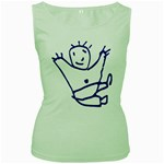Cute Little Cartoon Boy Women s Green Tank Top