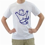 Cute Little Cartoon Boy White T-Shirt