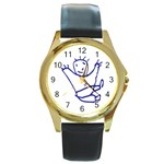 Cute Little Cartoon Boy Round Gold Metal Watch