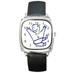 Cute Little Cartoon Boy Square Metal Watch