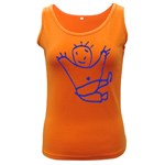 Cute Little Cartoon Boy Women s Dark Tank Top