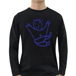 Cute Little Cartoon Boy Long Sleeve Dark T-Shirt