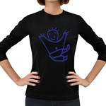 Cute Little Cartoon Boy Women s Long Sleeve Dark T-Shirt
