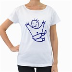 Cute Little Cartoon Boy Maternity White T-Shirt