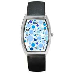 Bubbly Blues Tonneau Leather Watch by StuffOrSomething