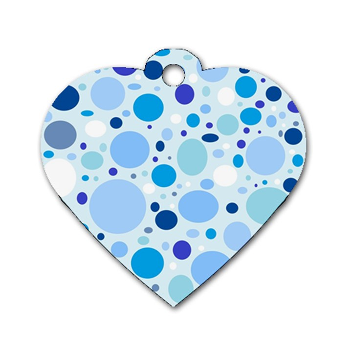Bubbly Blues Dog Tag Heart (One Sided)