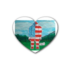 Painted Flag Big Foot Aust Drink Coasters 4 Pack (heart)  by creationtruth