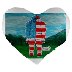 Painted Flag Big Foot Aust 19  Premium Heart Shape Cushion by creationtruth